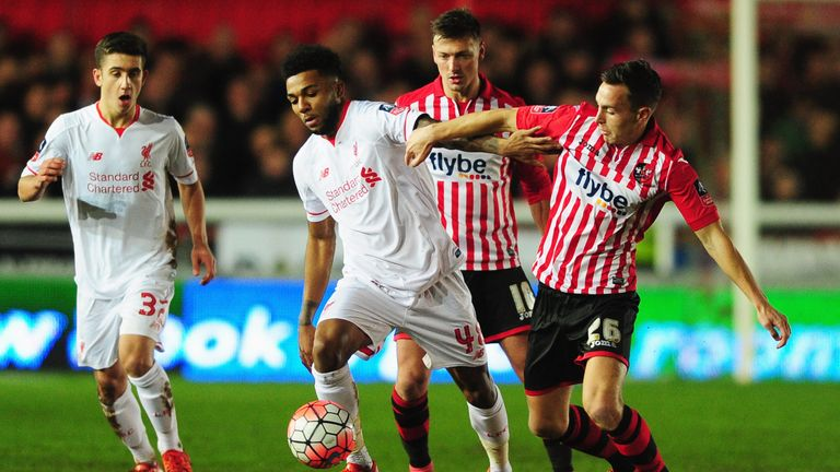 Liverpool striker Jerome Sinclair (second left) in action against Exeter in the FA Cup