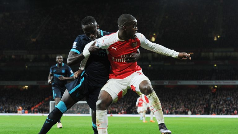 Campbell in action against Manchester City at the Emirates Stadium