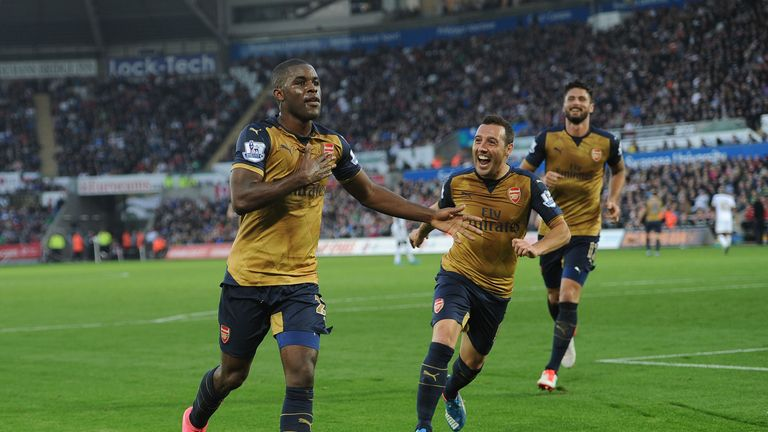Campbell celebrates after scoring his first Arsenal goal against Swansea