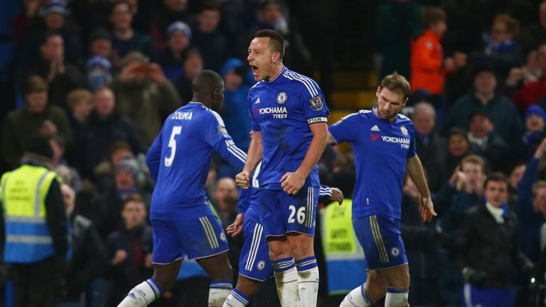 John Terry of Chelsea celebrates scoring his team's third goal