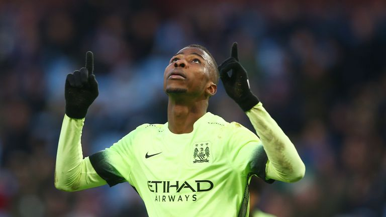 Kelechi Iheanacho of Manchester City celebrates scoring his hat-trick goal against Aston Villa