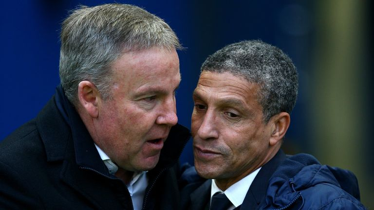 Kenny Jackett (left) greets Chris Hughton ahead of clash