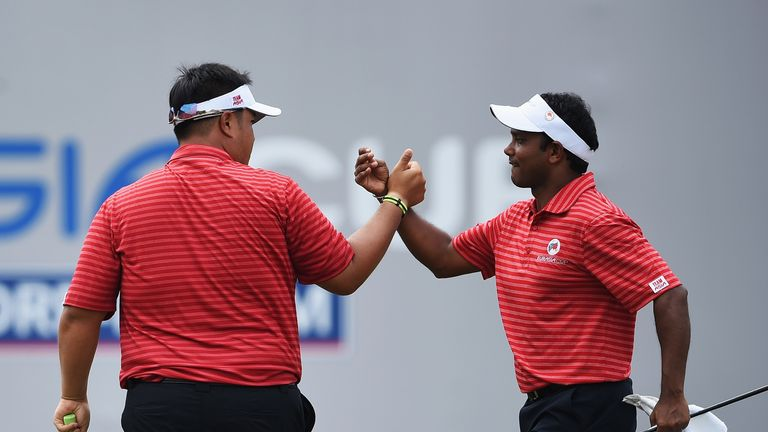 Kiradech Aphibarnrat (left) and SSP Chawrasia were Asia's only winners on Saturday