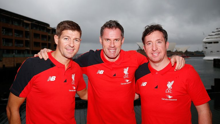 Liverpool Legends Steven Gerrard (left), Jamie Carragher (centre) and Robbie Fowler (right) are all expected to play against Madrid