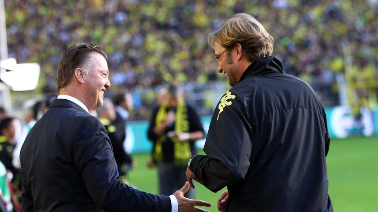 Louis van Gaal (left) and Jurgen Klopp faced each other in the Bundesliga
