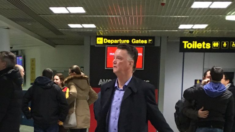 Manchester United manager Louis van Gaal was photographed at Manchester airport on Sunday afternoon (picture courtesy of Laura Wolfe)
