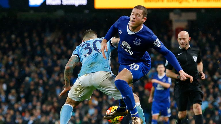 City's Nicolas Otamendi (left) vies with Ross Barkley
