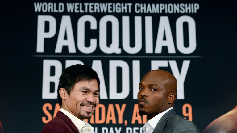Manny Pacquiao will face Timothy Bradley (right) on April 9
