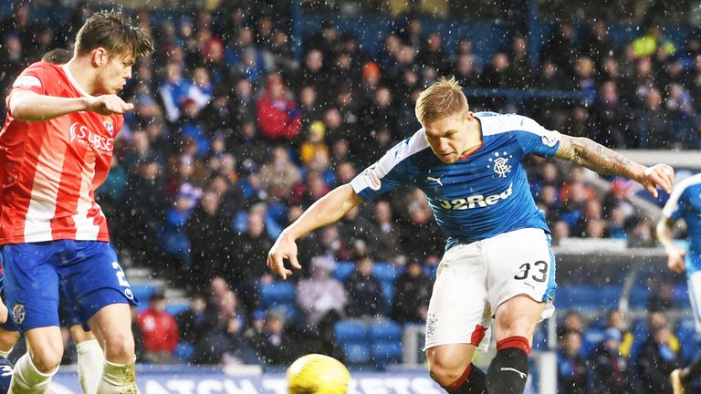 Martyn Waghorn scores the first of his goals for Rangers against Cowdenbeath