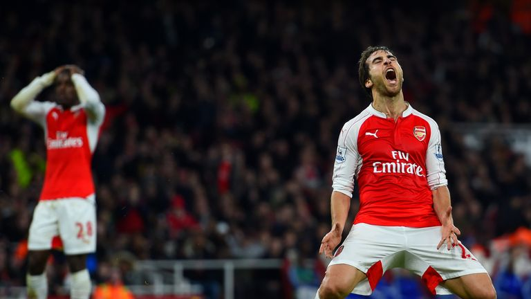 Mathieu Flamini reacts after missing a chance for Arsenal against Chelsea