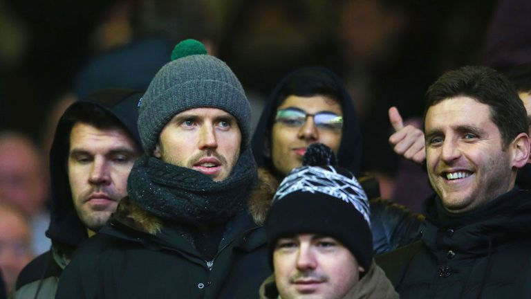 Michael Carrick joined the United fans in the away end for the match at Anfield