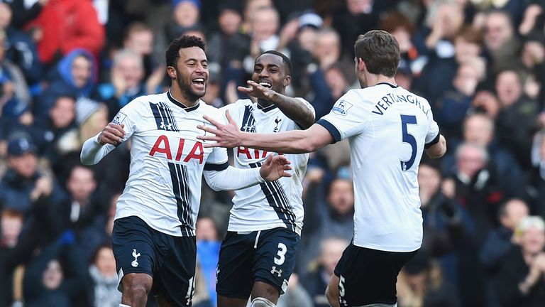 Mousa Dembele celebrates scoring Spurs' second goal