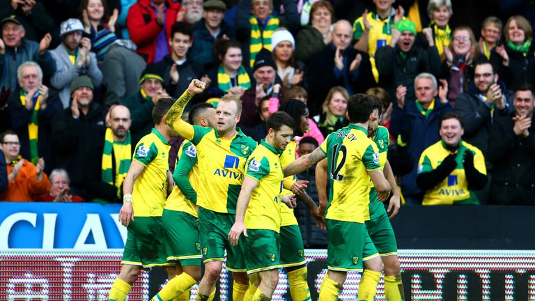 Steven Naismith (third left) celebrates with team-mates after putting Norwich 2-1 up