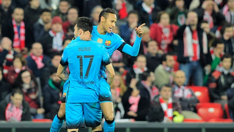 Barcelona goalscorers Neymar and Munir celebrate