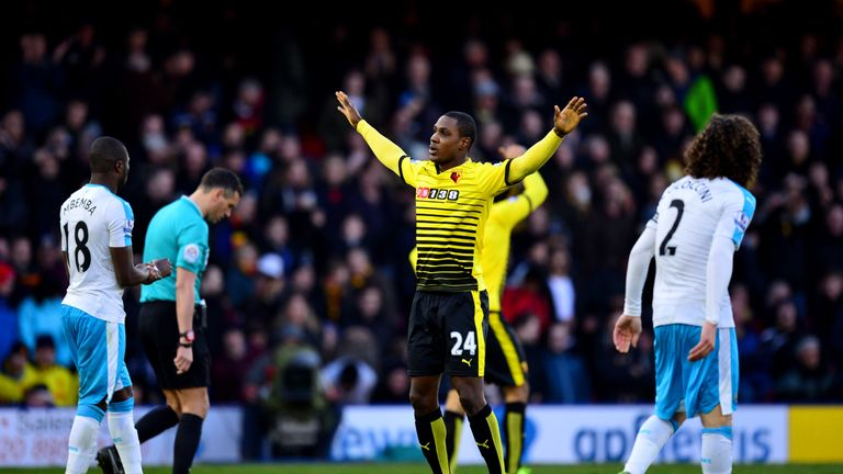 Odion Ighalo of Watford celebrates scoring