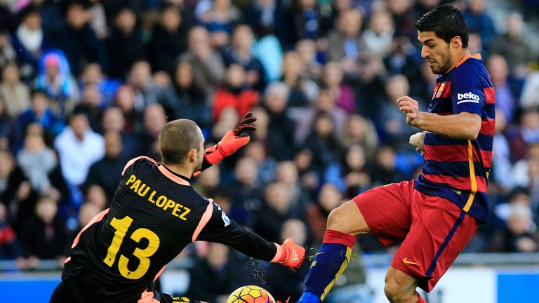 Luis Suarez tries to score past Espanyol goalkeeper Pau Lopez