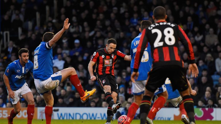 Marc Pugh scores for Bournemouth against Portsmouth
