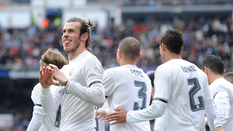 Gareth Bale celebrates scoring for Real Madrid against Sporting Gijon
