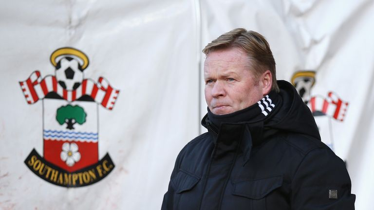 Ronald Koeman looks on prior to the match