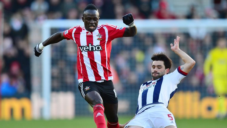 Sadio Mane is tackled by Claudio Yacob during Southampton's win over West Brom