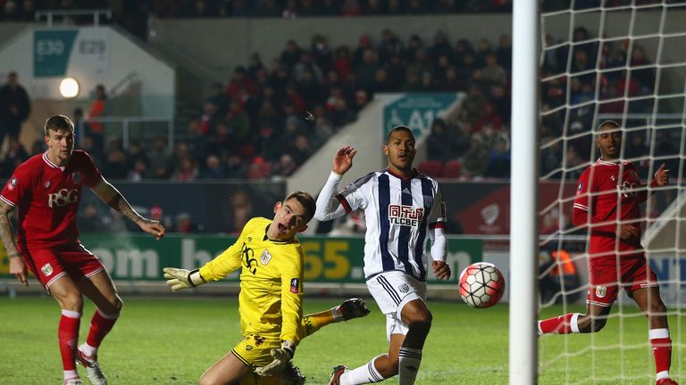 Salomon Rondon scores the only goal of the game at Ashton Gate
