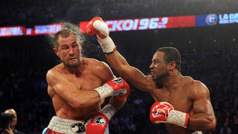 Pascal (right) lands a head shot to Kovalev
