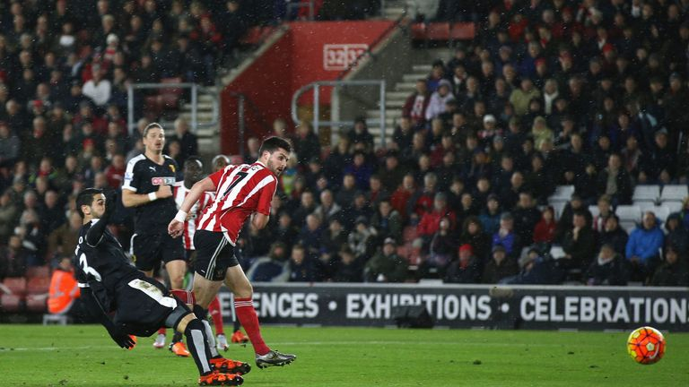Shane Long scores Southampton's first goal against Watford at St Mary's Stadium