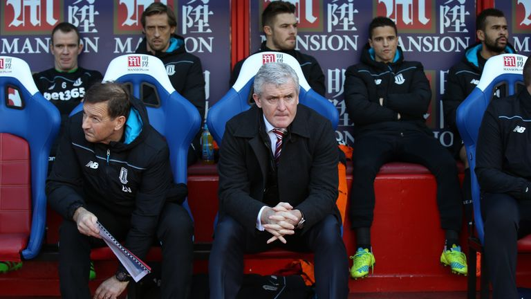 Stoke manager Mark Hughes looks on prior to the FA Cup match between against Crystal Palace