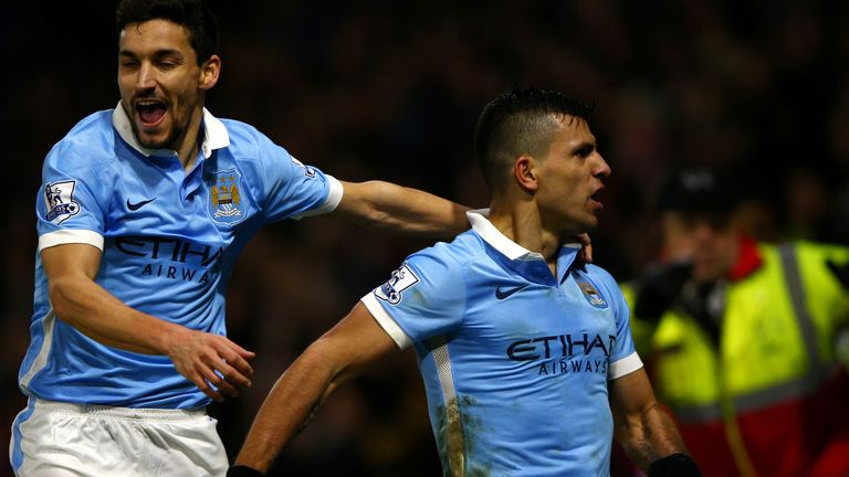 Sergio Aguero (right) celebrates after scoring the Man City winner
