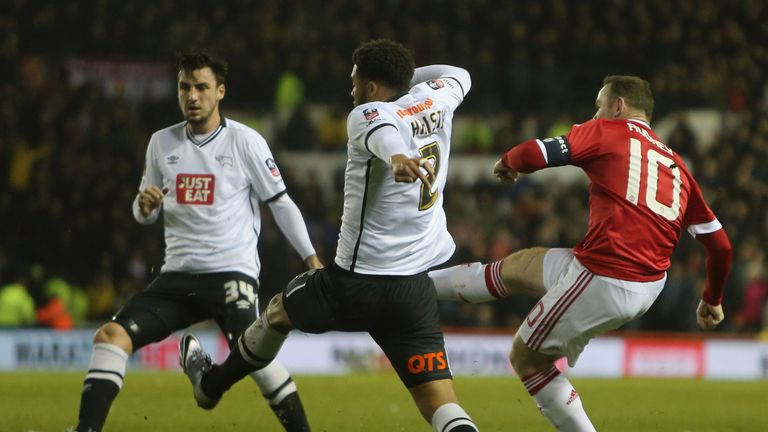Rooney scores the first goal in the 3-1 win at Derby on Friday night