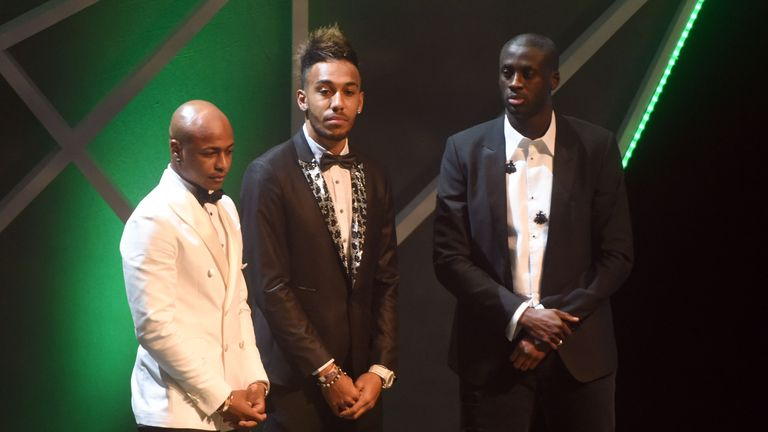 Pierre-Emerick Aubameyang (C) was crowned African Footballer of the Year ahead of Yaya Toure (R) and Andre Ayew (L)