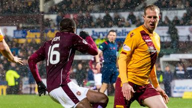 David Clarkson (right) made his last appearance for Motherwell in the 6-0 defeat at Hearts earlier this month