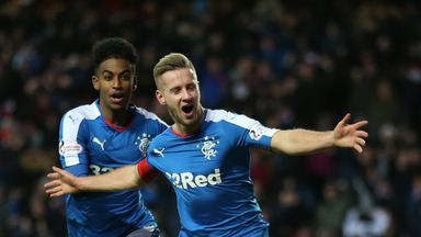 Hearts loanee Billy King celebrates after snatching victory on his Rangers debut
