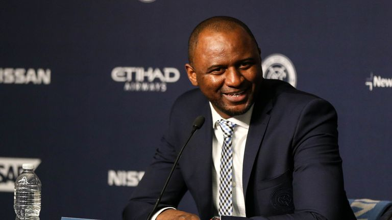 Patrick Vieira speaks as he is introduced as New York City FC's new head coach.