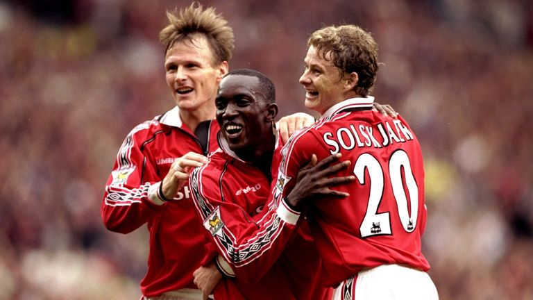 25 Sep 1999:  Teddy Sheringham, Dwight Yorke and Ole Gunnar Solskjaer of Manchester United celebrates during the FA Carling Premiership match played at Old