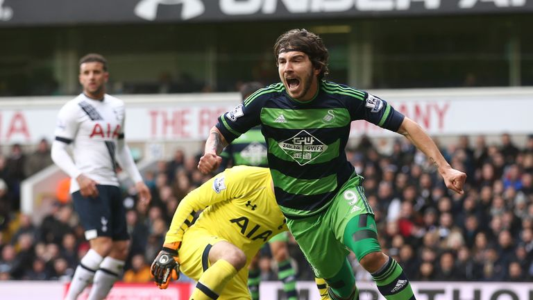 Alberto Paloschi celebrates after scoring for Swansea against Spurs