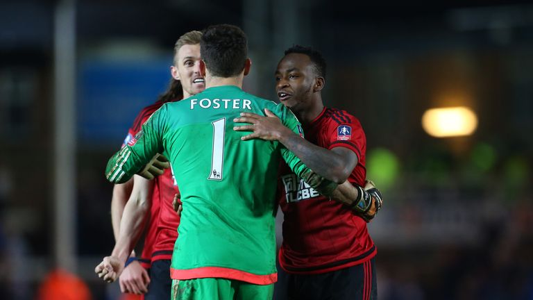 Saido Berahino and Darren Fletcher congratulate penalty hero Ben Foster