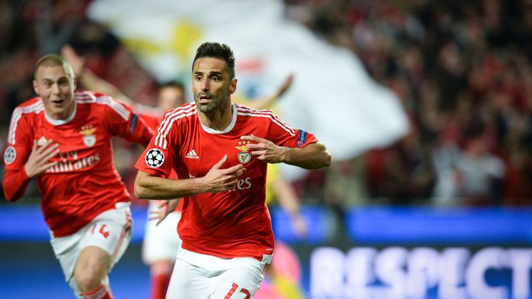 Benfica's Jonas Oliveira celebrates after scoring an injury-time winner against Zenit