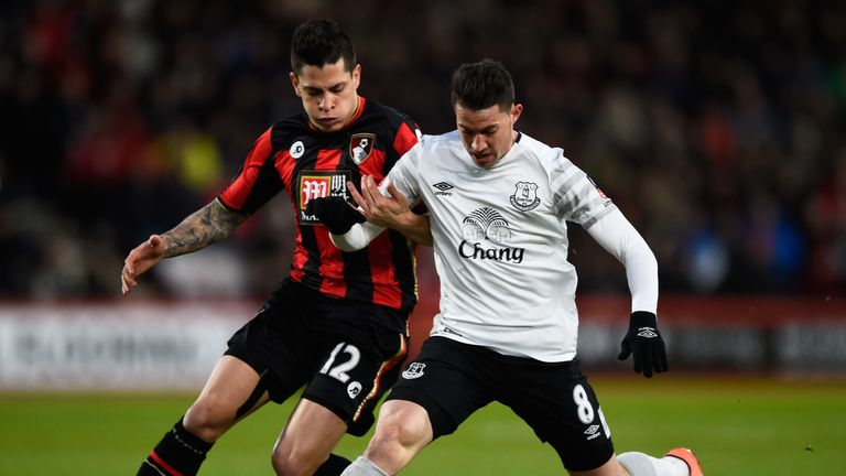 Bryan Oviedo and Juan Iturbe compete for the ball during at Dean Court