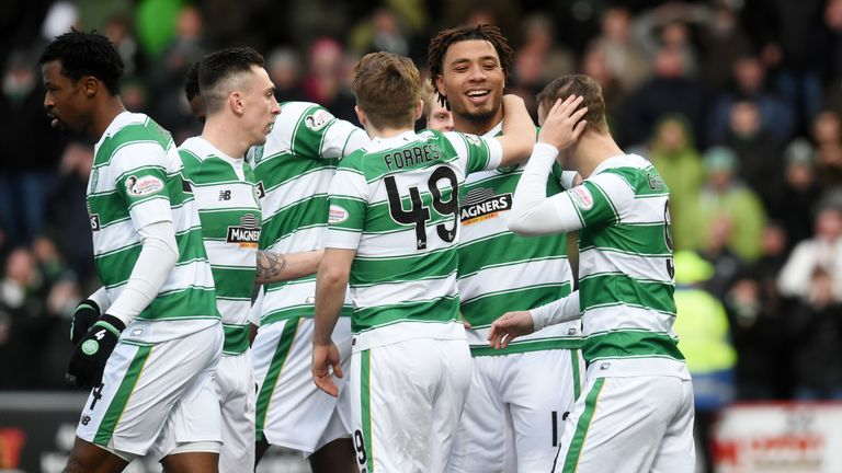 Celtic's Colin Kazim-Richards (second from right) celebrates after getting his first goal for the club