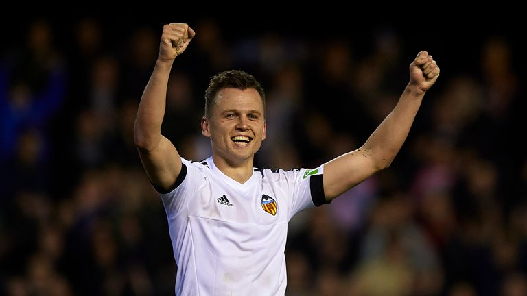 Denis Cheryshev celebrates scoring Valencia's winner