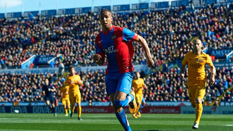 Acosta Deyverson of Levante runs with the ball
