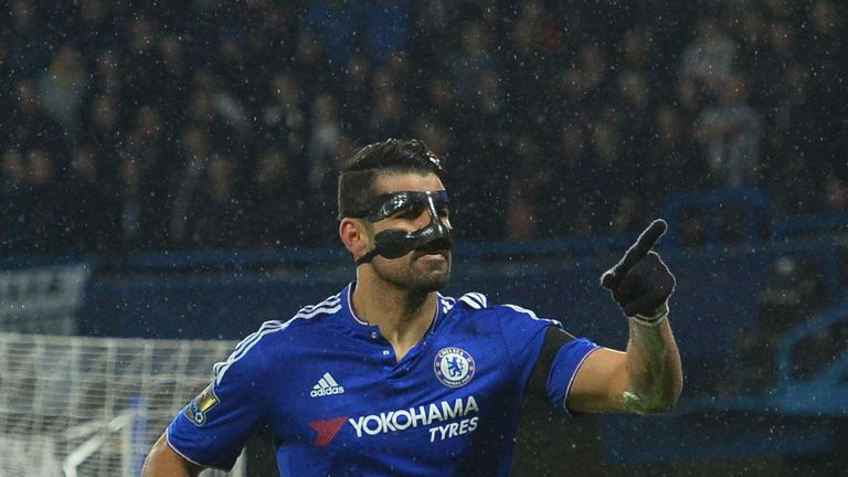 Diego Costa wore a mask after breaking his nose in training