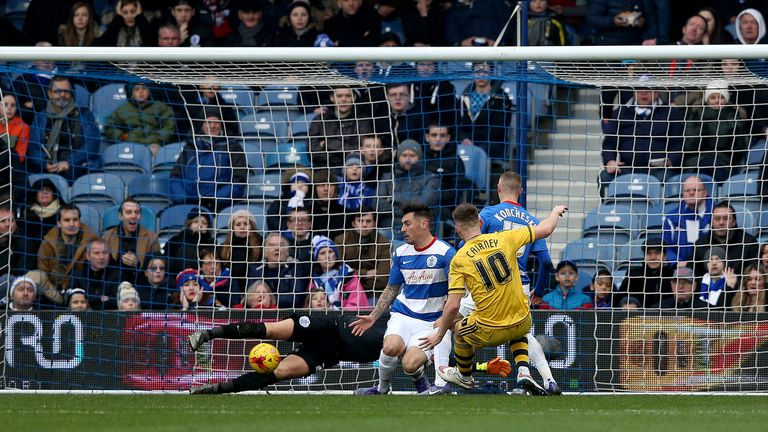 Fulham's Tom Cairney scores his side's third goal during the match at Loftus Road.