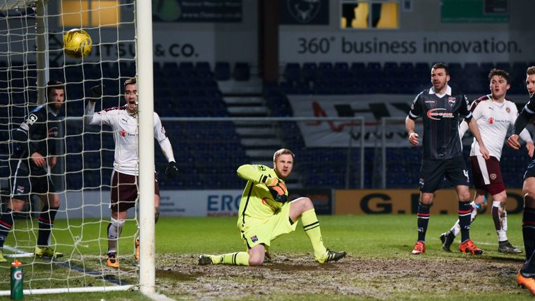 The ball bounced into the net off Walker following a corner to give Hearts a 1-0 advantage