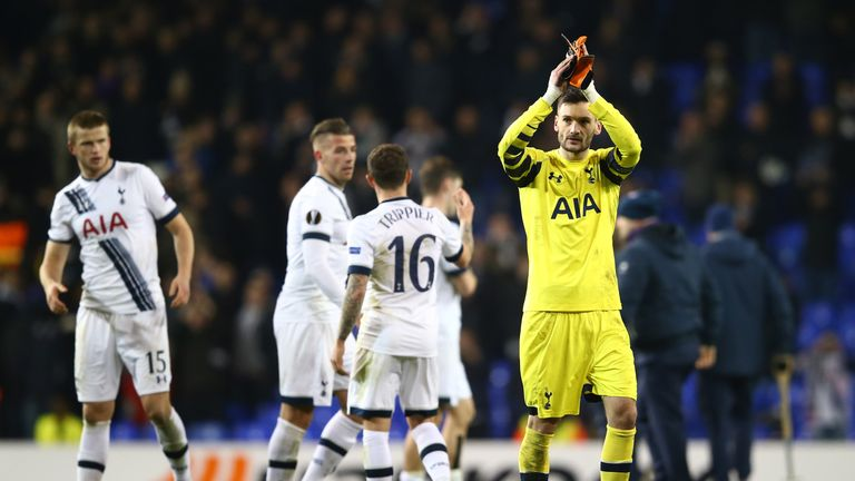 Hugo Lloris (right) applauds the supporters after Tottenham's win