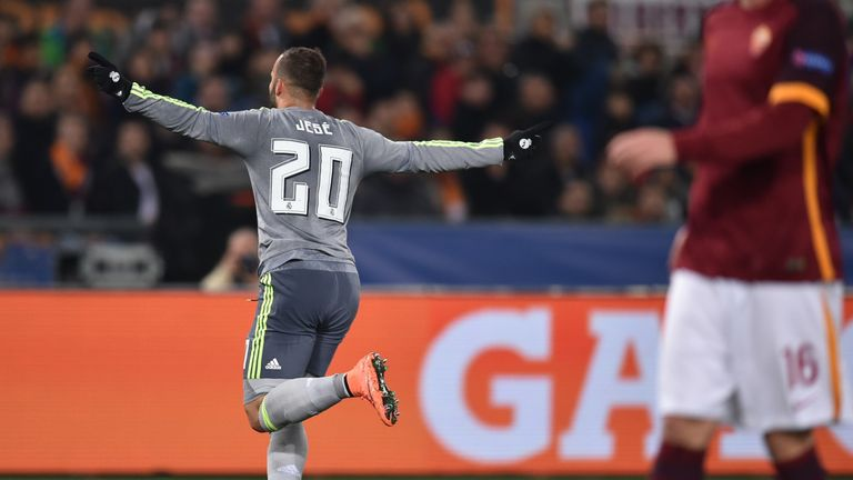 Jese wheels away in celebration after doubling Real's lead in Rome