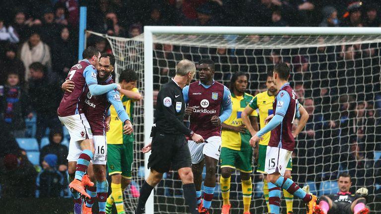 Joleon Lescott celebrates putting Aston Villa ahead