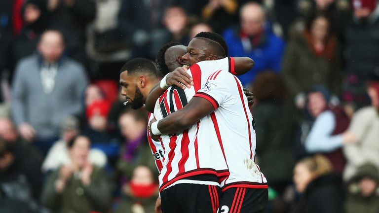 Lamine Kone (R) of Sunderland celebrates his team's second goa