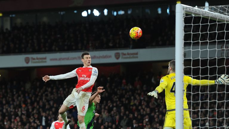 Laurent Koscielny heads over from close range in the second half